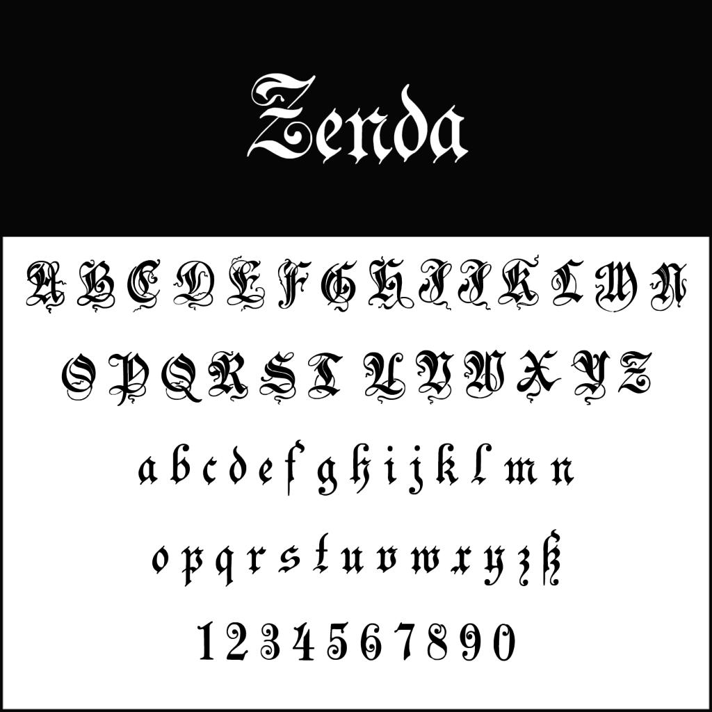 Schnoerkelschrift-Frakturschrift-Zenda-diedruckereide