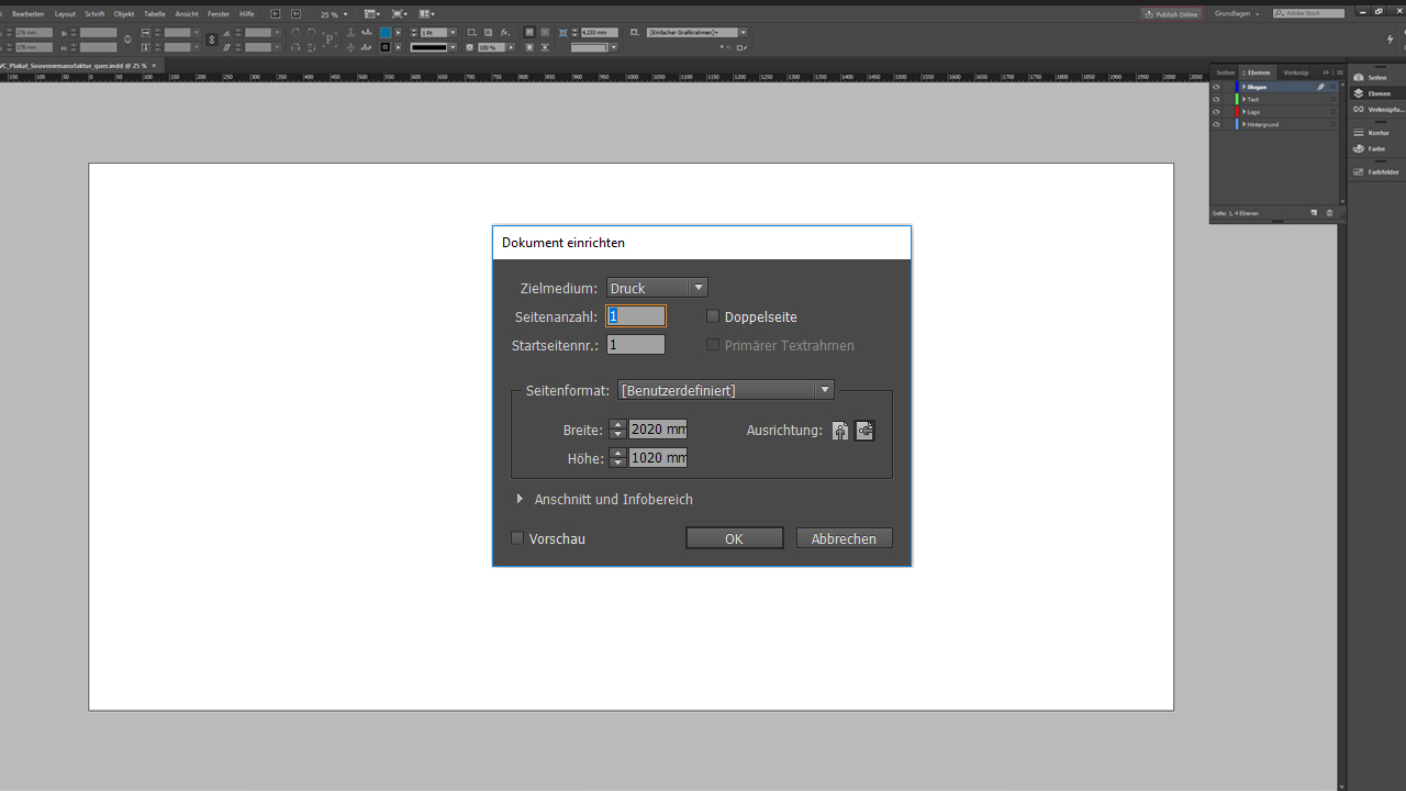 Banner-Design-InDesign-Tutorial: Dokument anlegen