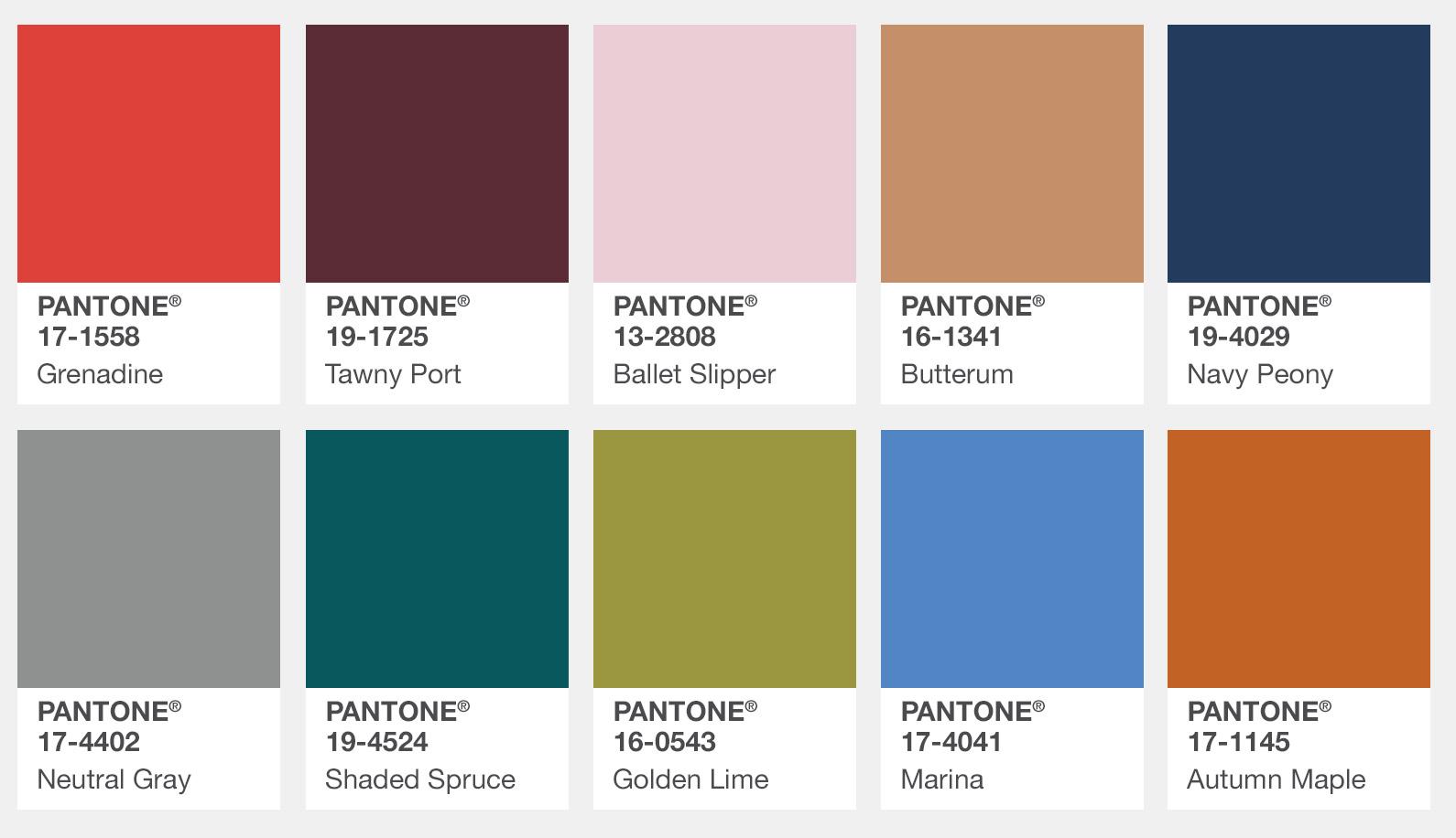 Die Pantone Herbst Trendfarben 2017
