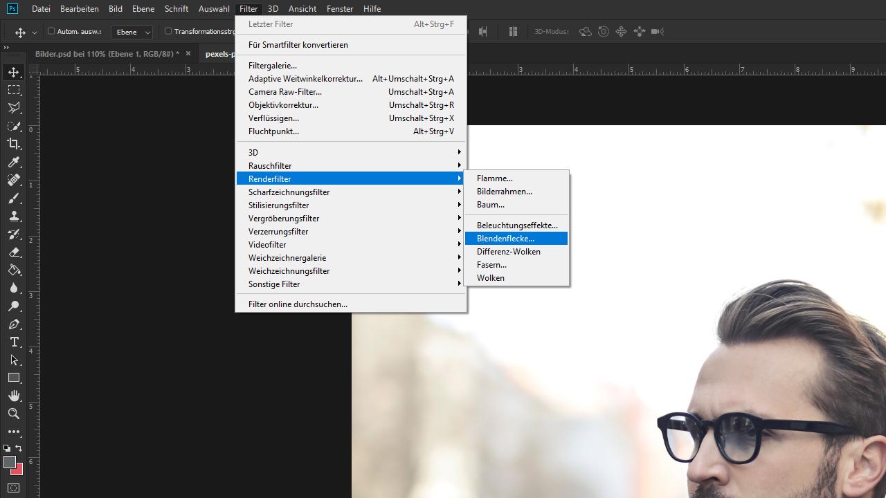 Lens-Flare-Effekt in Photoshop erzeugen