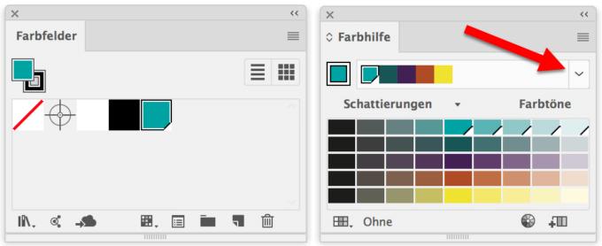 "Die aktive Farbe im Bedienfeld ""Farbfelder"" (links) wird zur Basisfarbe im Bedienfeld ""Farbhilfe"" (rechts)."