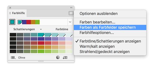 Die Farben werden als Farbgruppe den Farbfelder hinzugefügt.