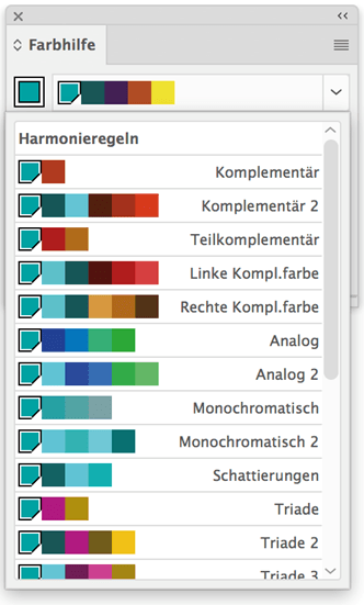 Anhand diverser Harmonieregeln wird die Basisfarbe erweitert