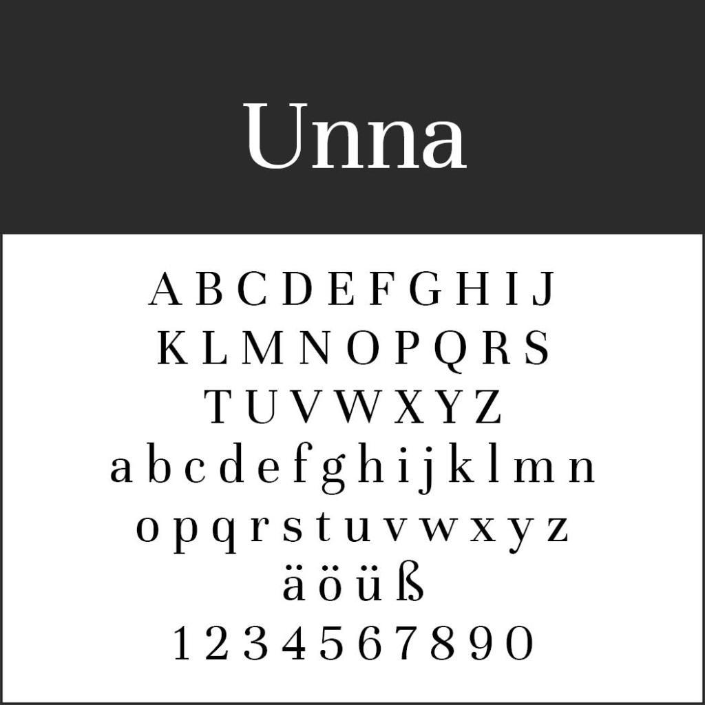 Gut lesbare Schriften Unna