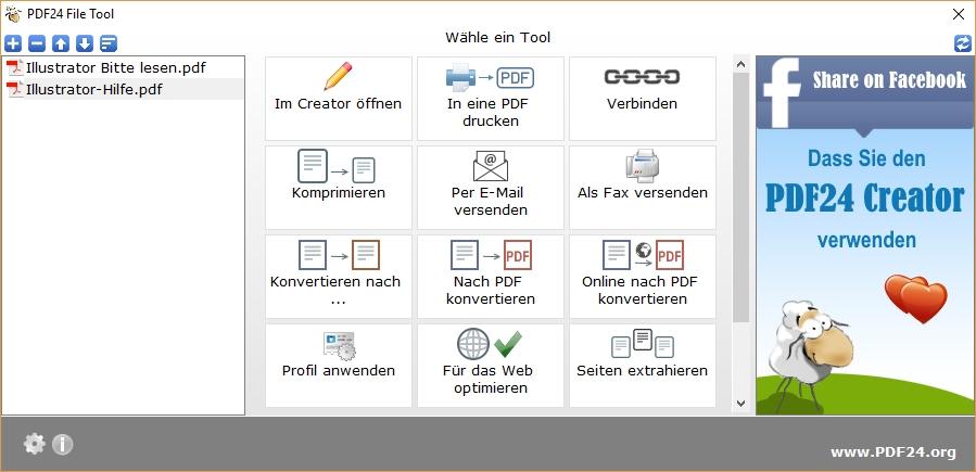 Screenshot PDF24 - PDF zusammenfügen