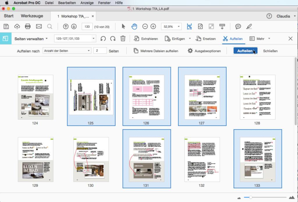 """Um zusammengefügte PDFs wieder aufzuteilen, gibt es die Option """"Aufteilen"""" ..."""