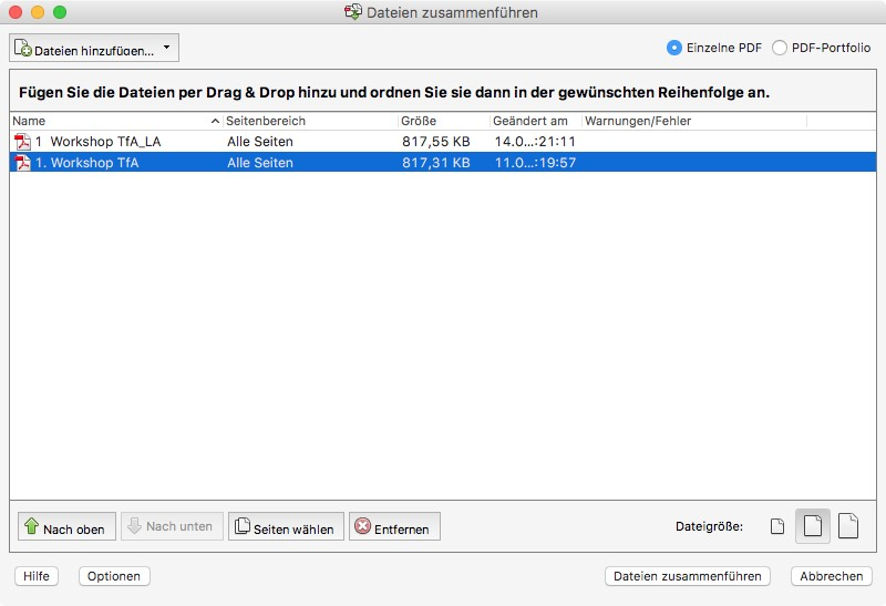 PDF zusammenführen