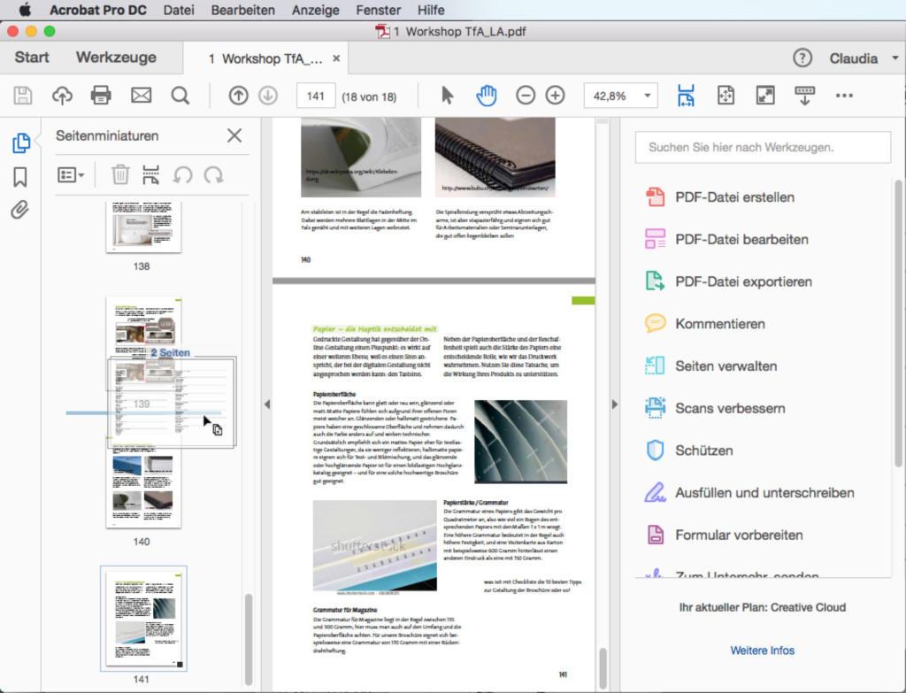 Natürlich lassen sich auch mehrere Seiten in einem Rutsch in ein anderes PDF einfügen