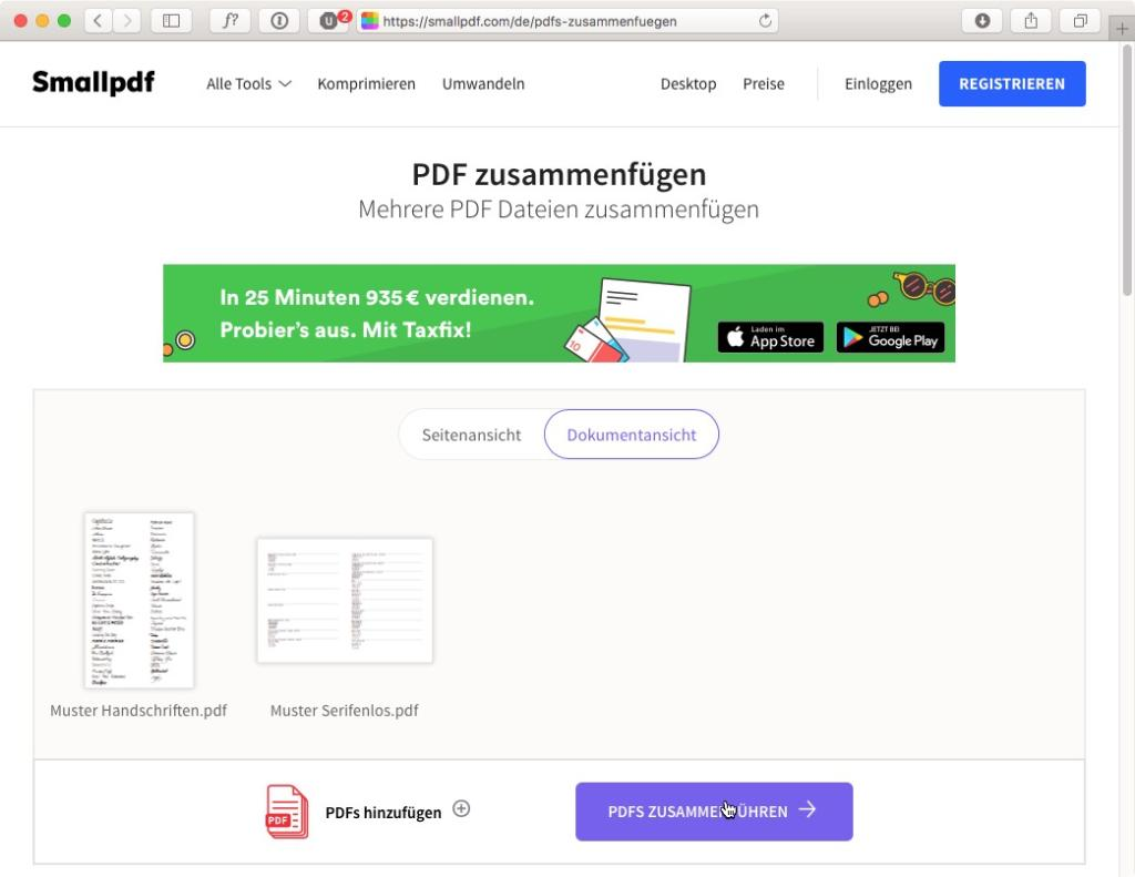 Bei smallpdf gibt's sogar eine Vorschau der PDF-Datei
