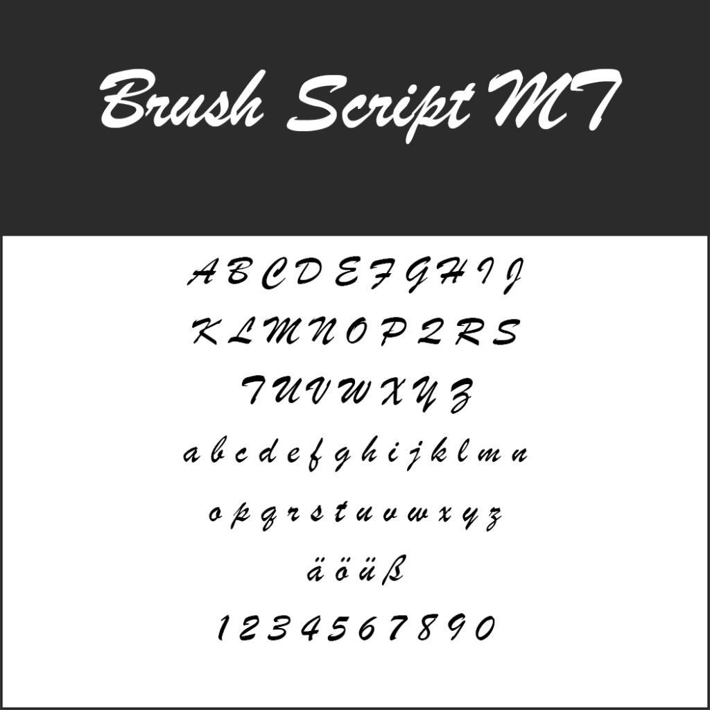 Font für Speisekarte: Brush Script MT