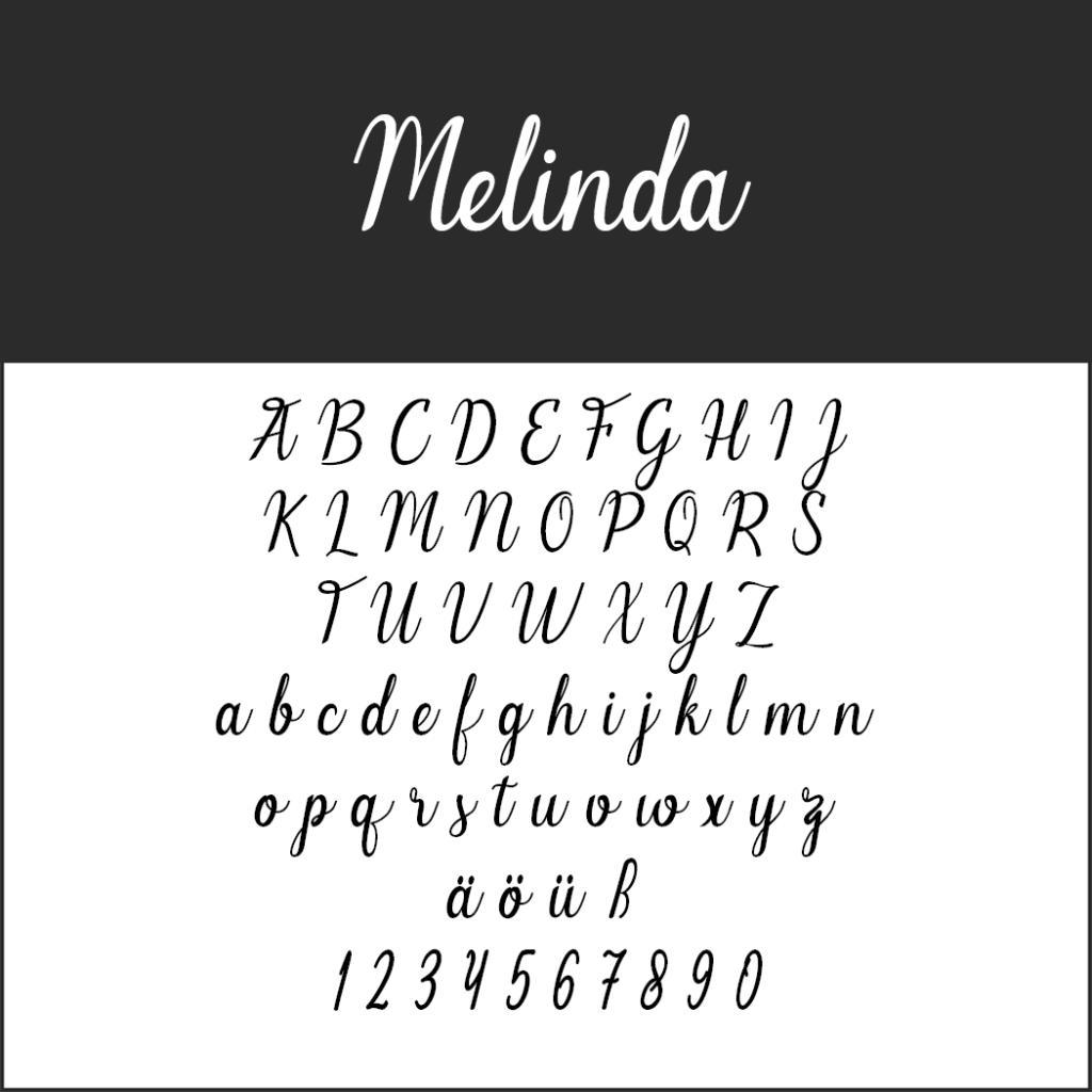 Schriftart Melinda
