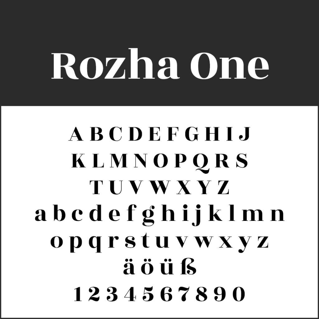 Schriftart Rozha One
