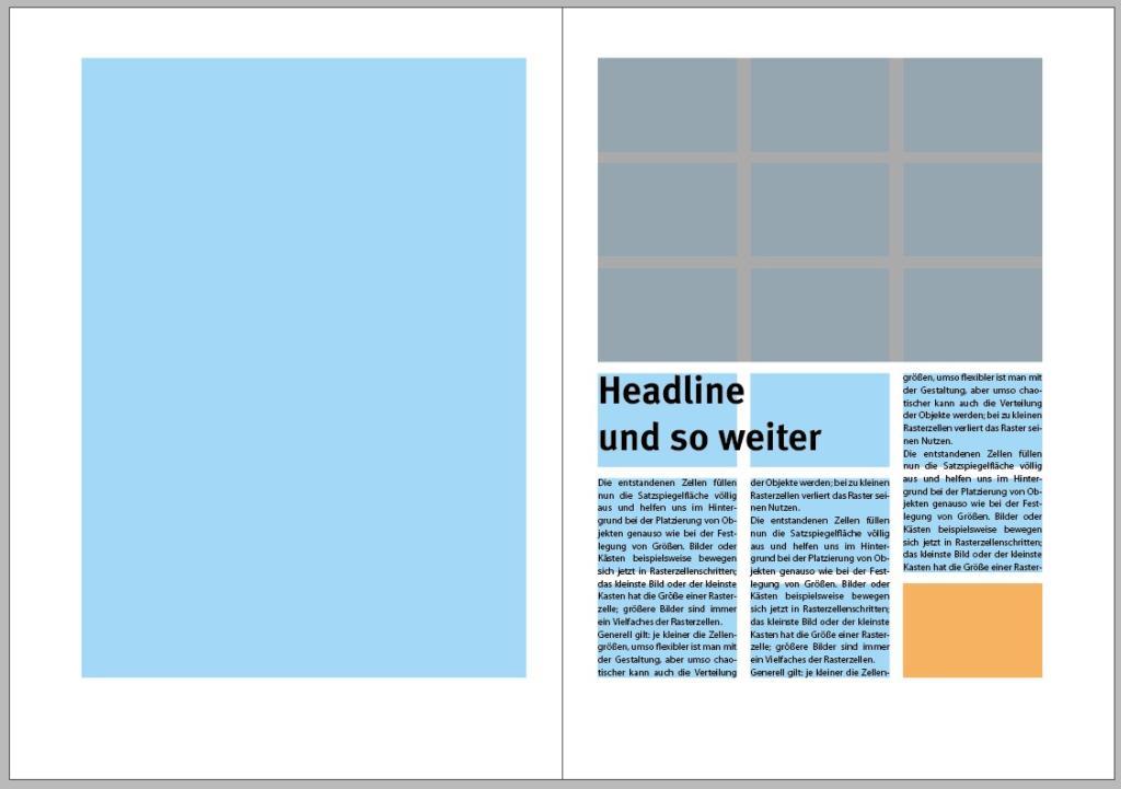 Beispiel für die Anordnung eines Artikels innerhalb des Satzspiegels mit Hilfe von Rasterzellen