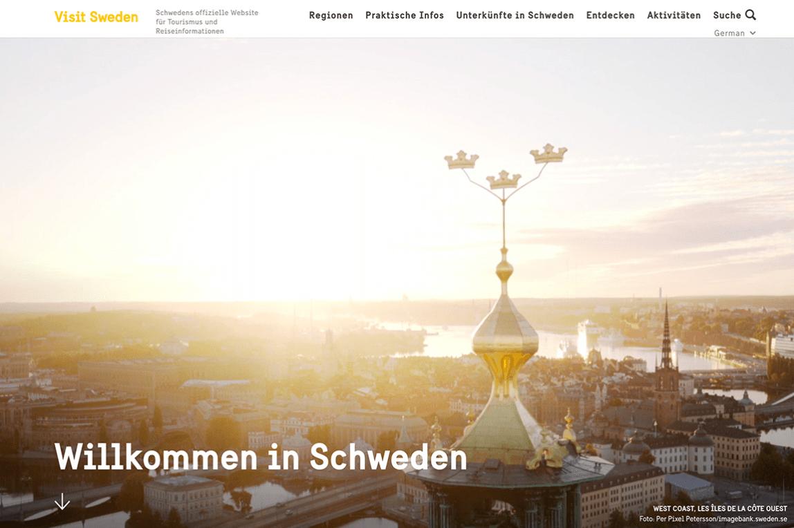 3) visitsweden.de punktet mit seinem aufgeräumten Website