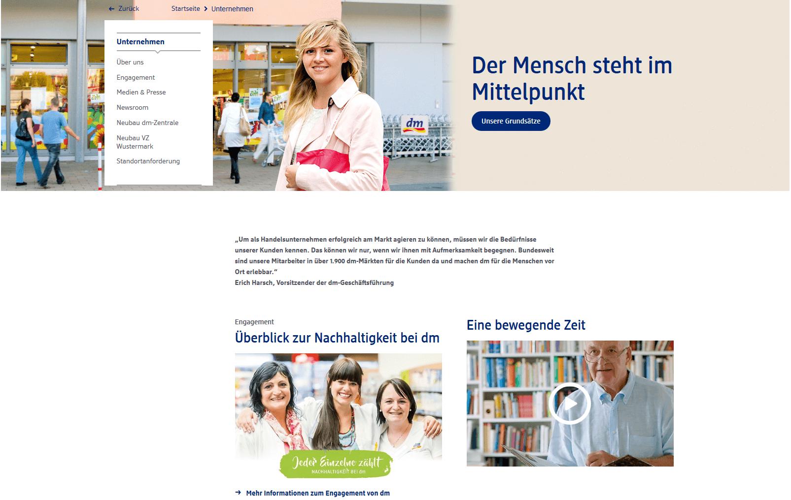 5) Die DM-Drogerie Unternehmenswebsite kann mit individuellen Bildern punkten