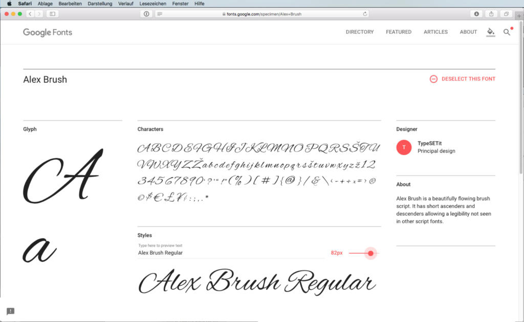 Script-Font Alex Brush Regular