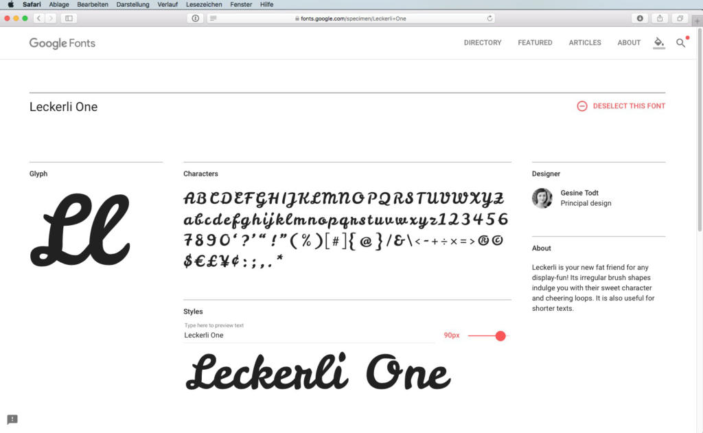 Script-Font Leckerli One