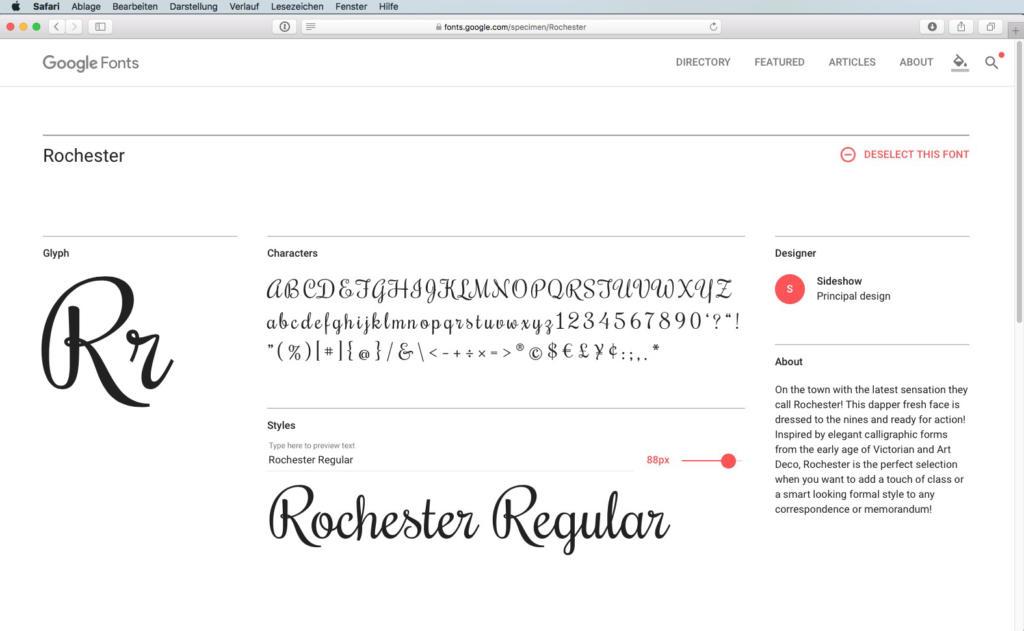 Script-Font Rochester Regular
