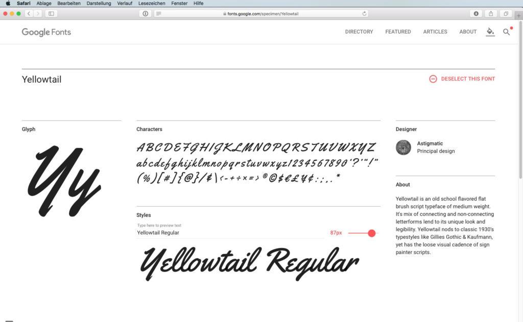 Script-Font Yellowtail Regular