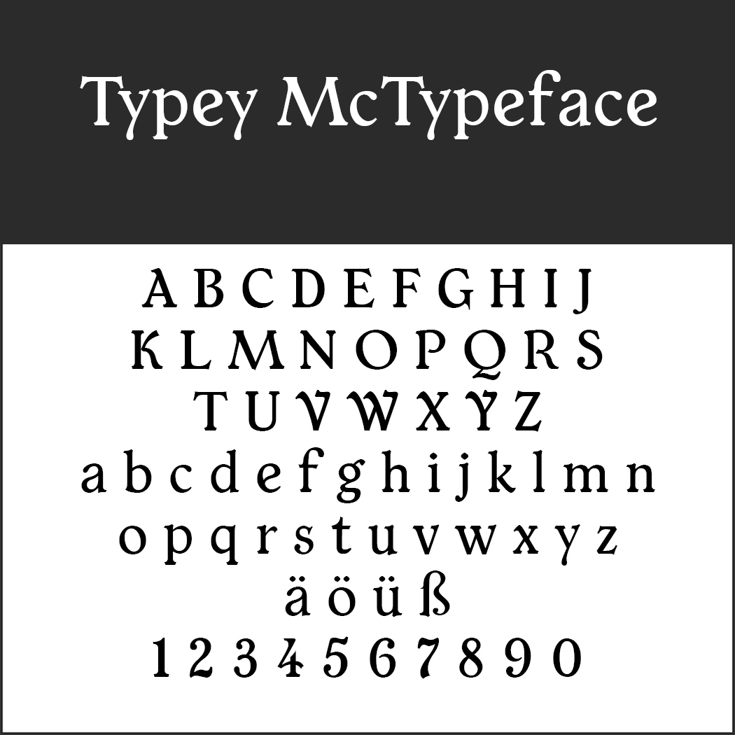 Serifenschriften: Typey McTypeface by Paul James Miller
