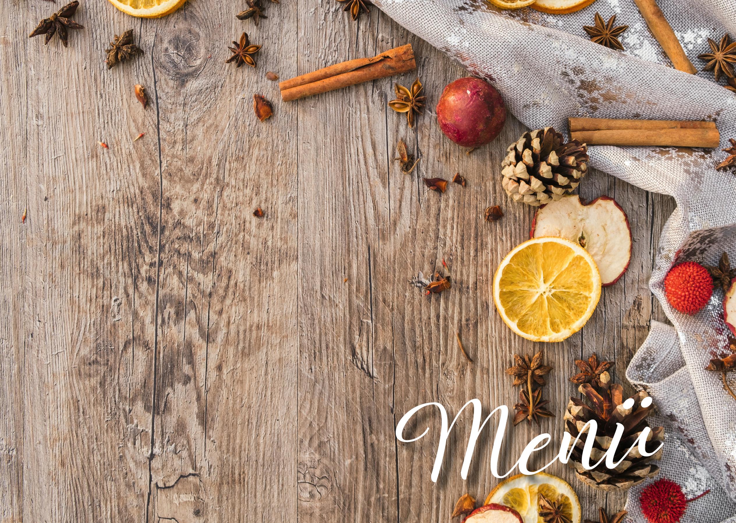 Vorlage einer Menükarte/Speisekarte für besondere Anlässe als Klappkarte