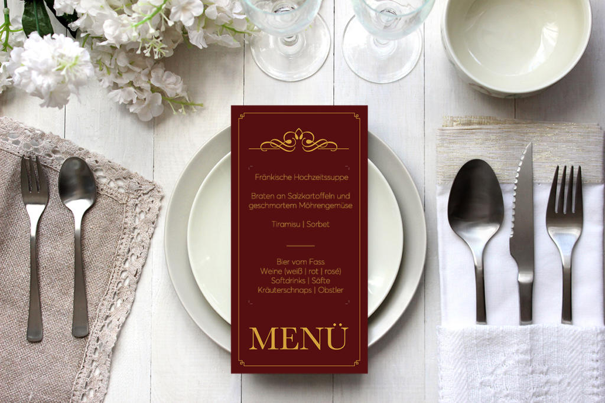 Vorlage einer Menükarte für eine Hochzeit