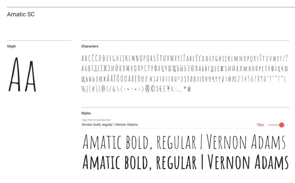 "Handlettering-Schrift ""Amatic SC"""