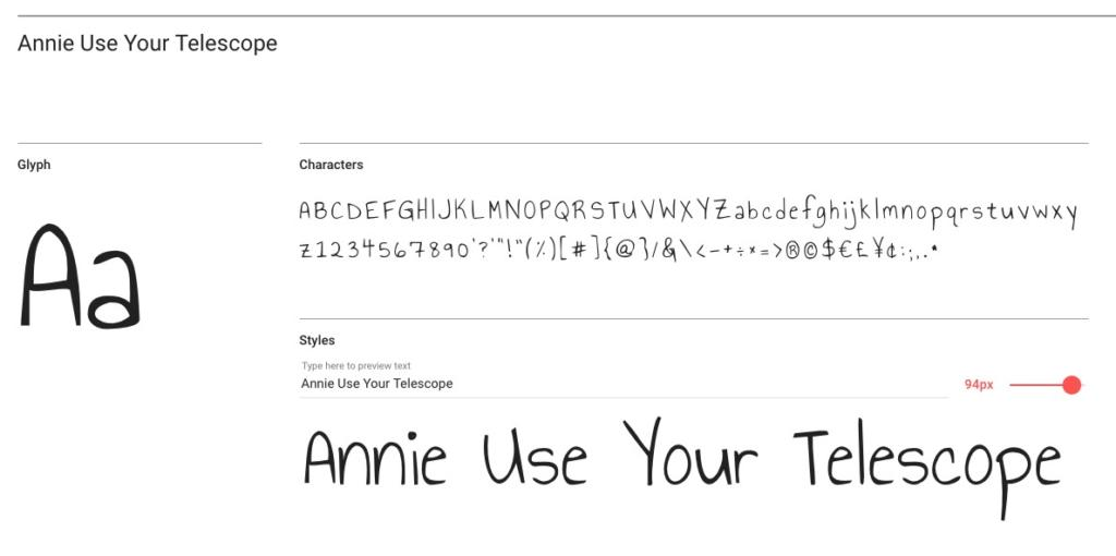 "Handlettering-Schrift ""Annie Use Your Telescope"""
