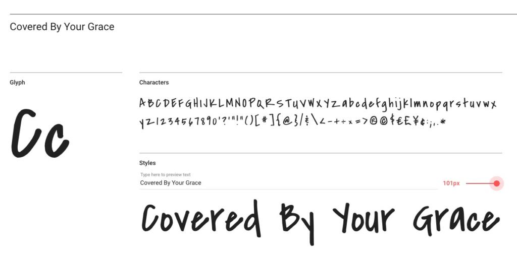 "Handlettering-Schrift ""Covered By Your Grace"""