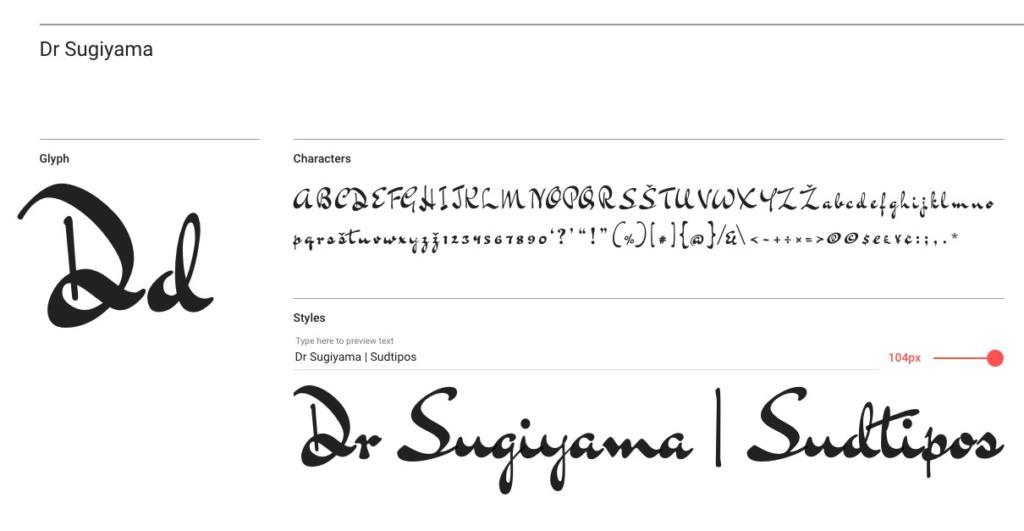 """Bluemlein-Skript Font """"Dr Sugiyama"""""""