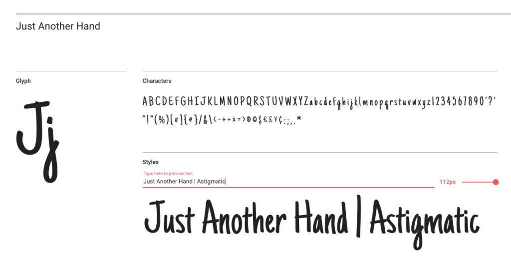 "Handlettering-Schrift ""Just Another Hand"""