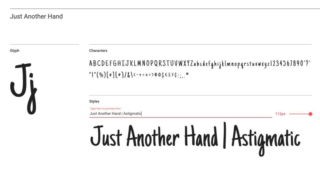 "Handlettering-Schrift ""Just Another Hand"""