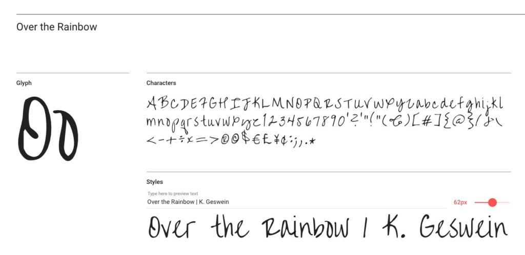 "Handlettering-Schrift ""Over the Rainbow"""