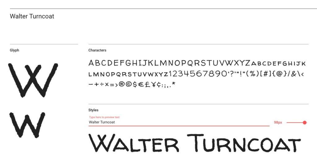 "Handlettering-Schrift ""Walter Turncoat"""