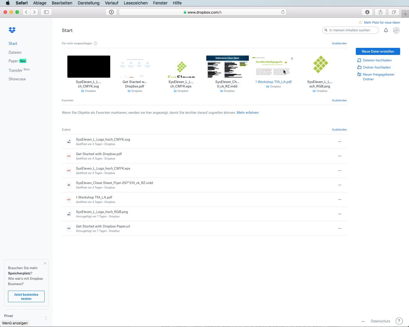 Die Dropbox-Webseite bietet auch eine Vorschaufunktion für die gängigsten Dateitypen