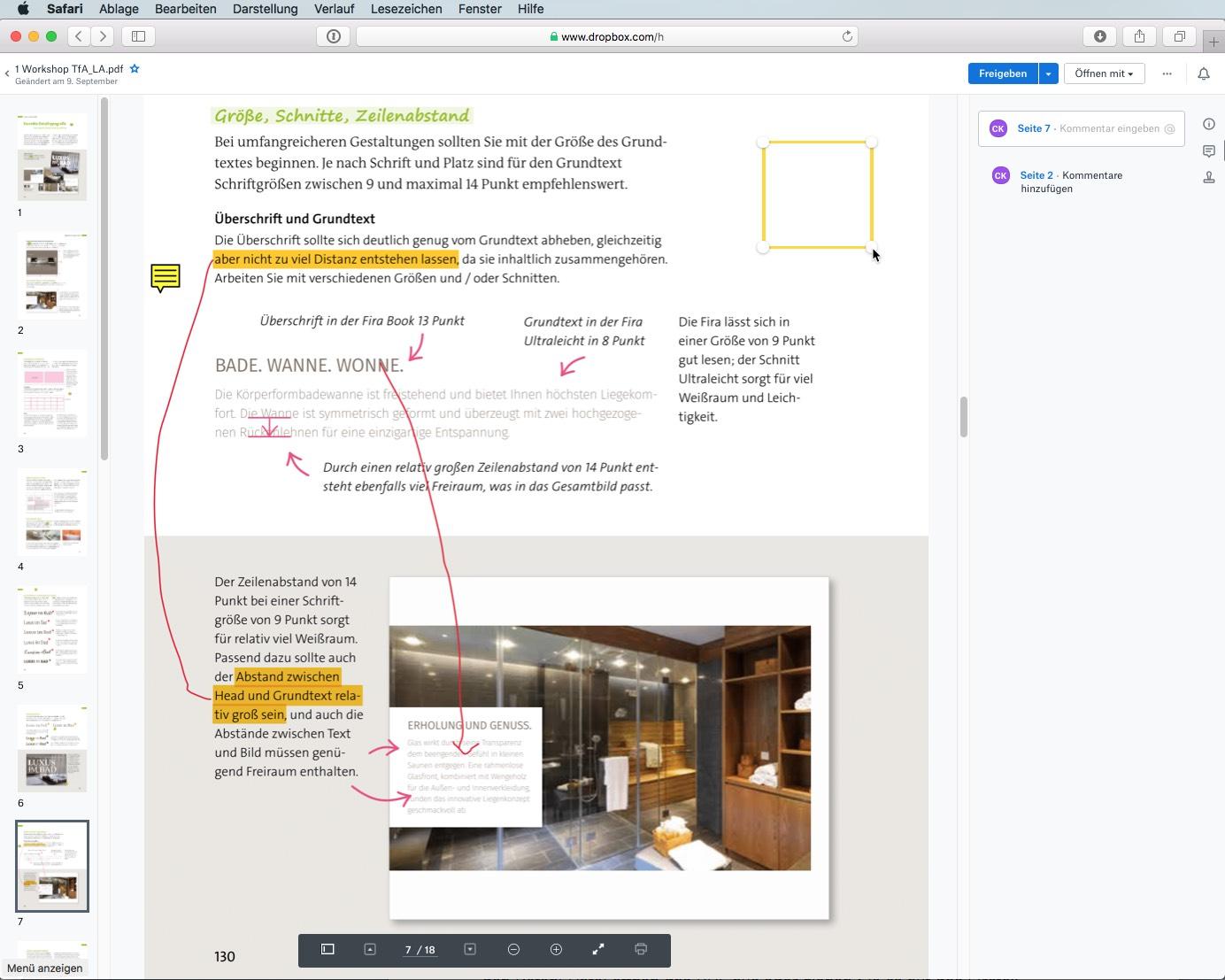 Der Web-Client erlaubt es sogar, Kommentare einzufügen