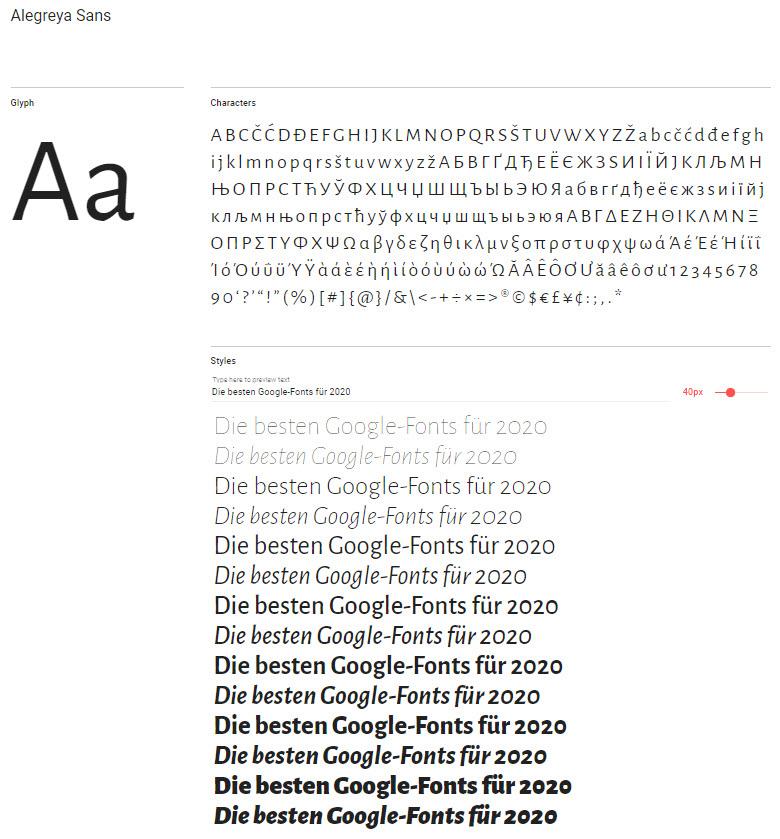 Google-Font: Alegreya Sans