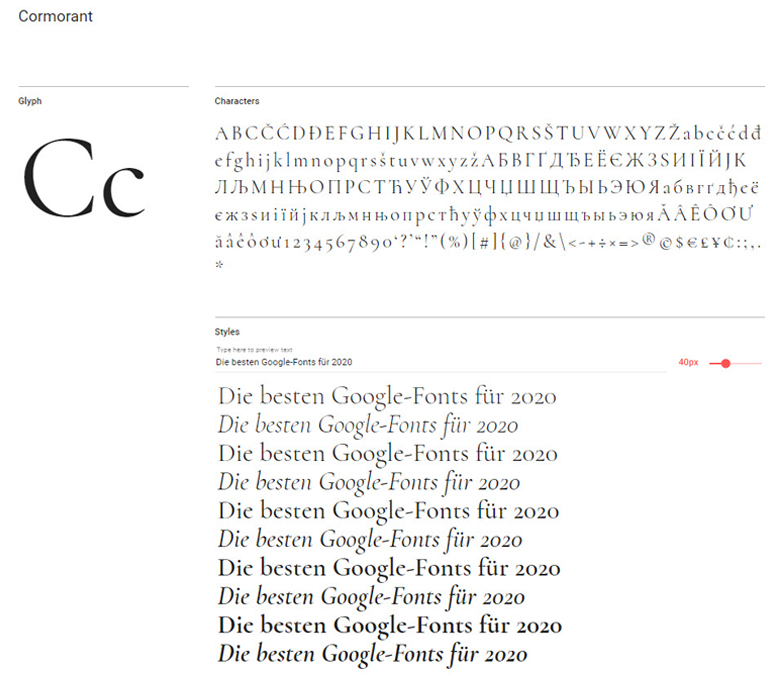 Google-Font: Cormorant