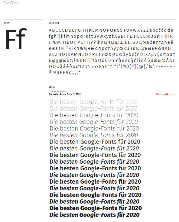Google-Schrift: Fira Sans