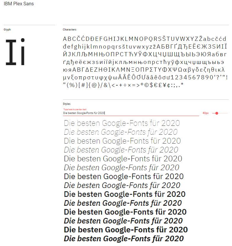 Google-Font: IBM Plex Sans