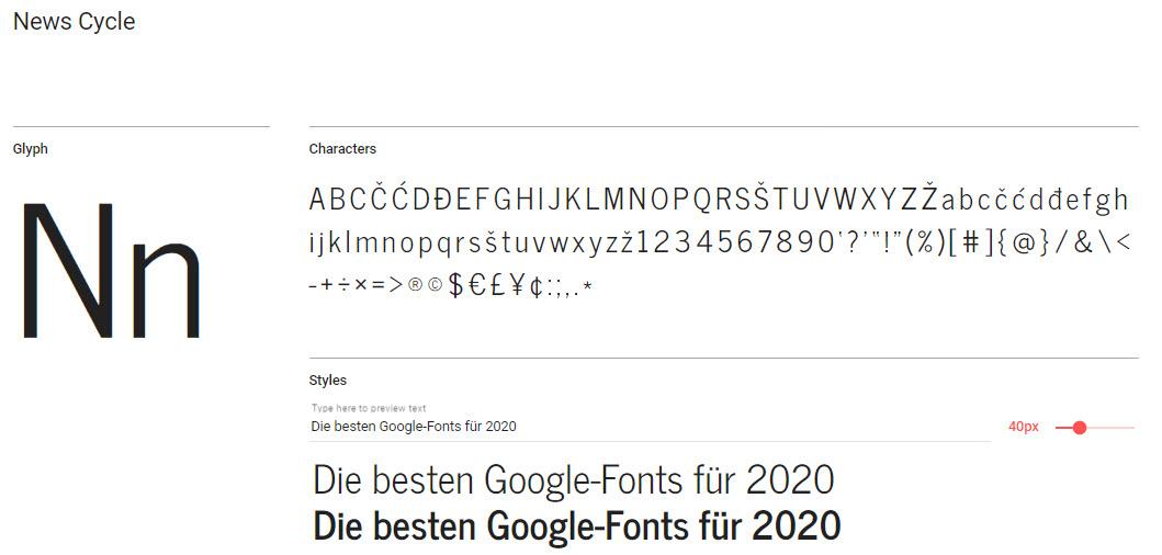 """Schriftart """"News Cycle"""" von Google"""
