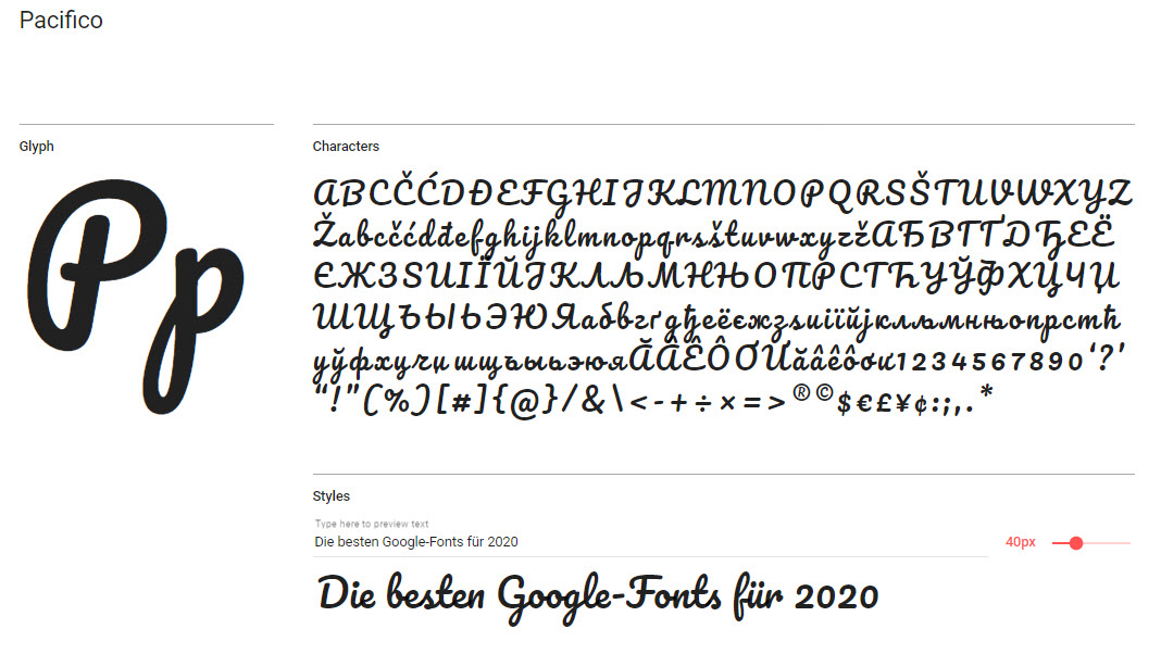 Google-Font: Pacifico
