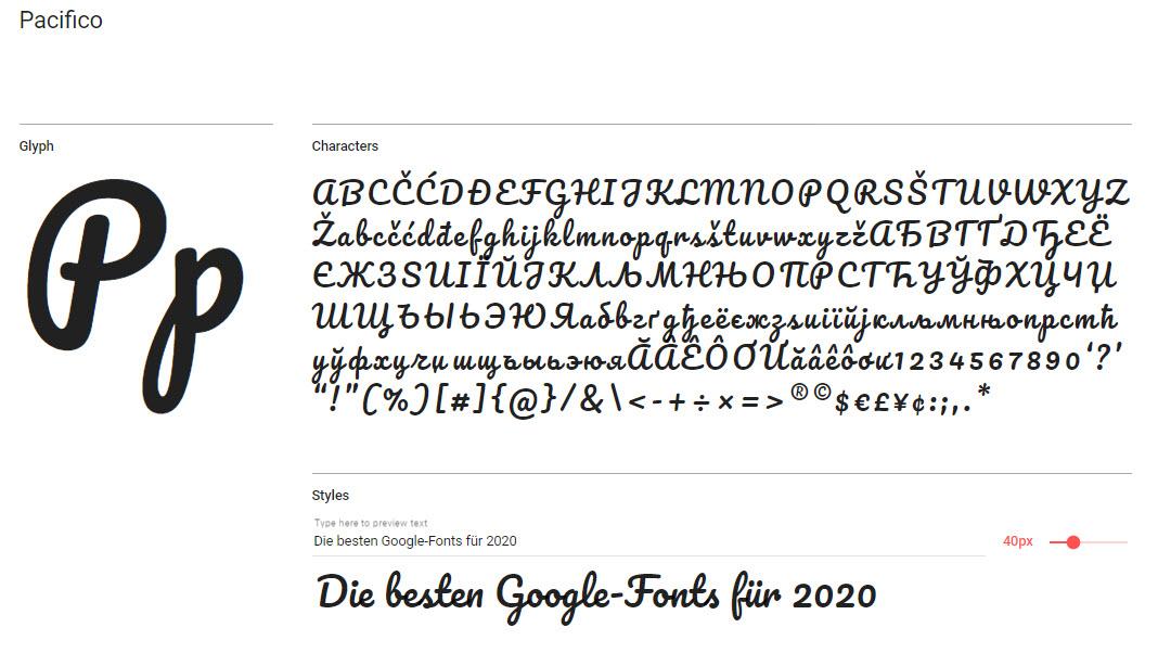 Google-Font: Pacifico
