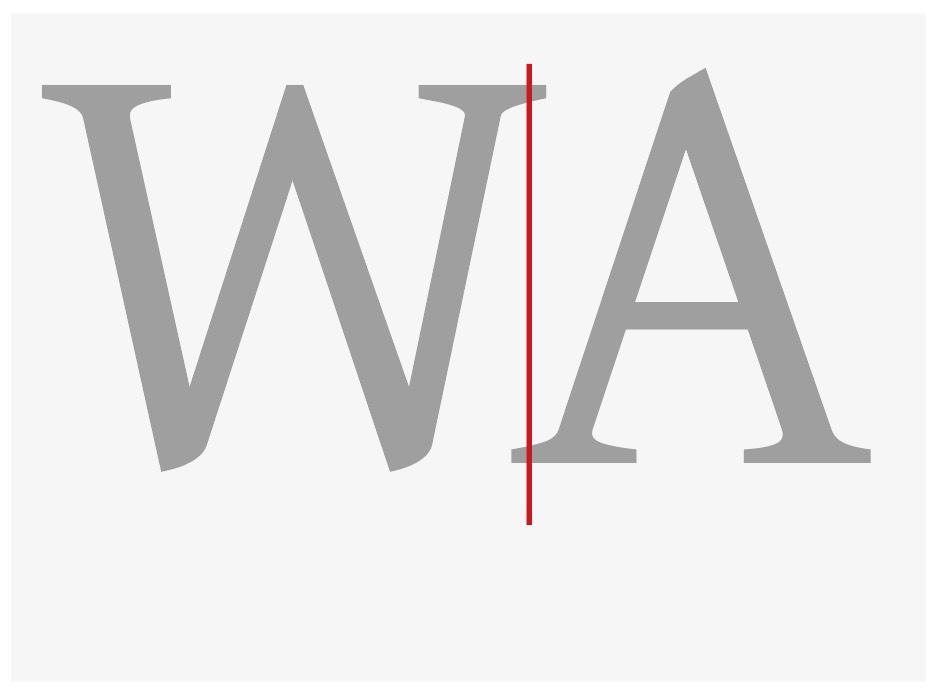 """Abbildung der negativen Vorbreite bei den Buchstaben """"WA"""""""