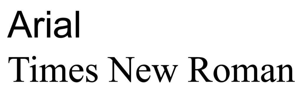 "Abbildung der Fonts ""Arial"" und ""Times New Roman"""
