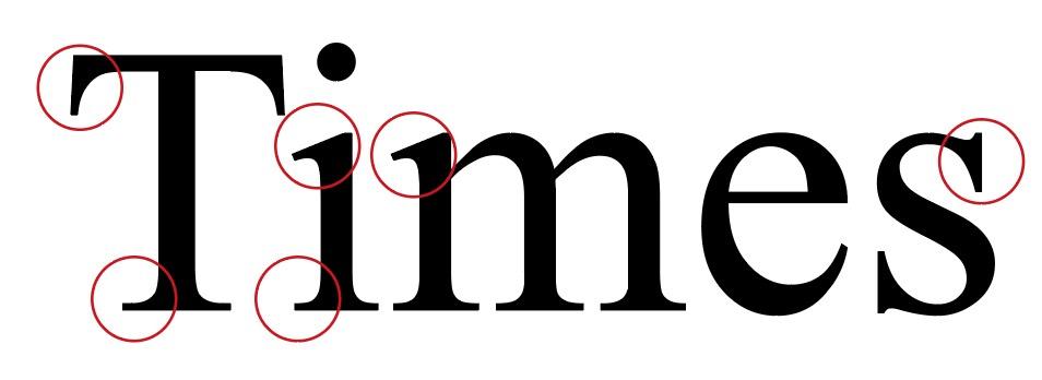 """Genauere Abbildung der Schriftart """"Times New Roman"""""""