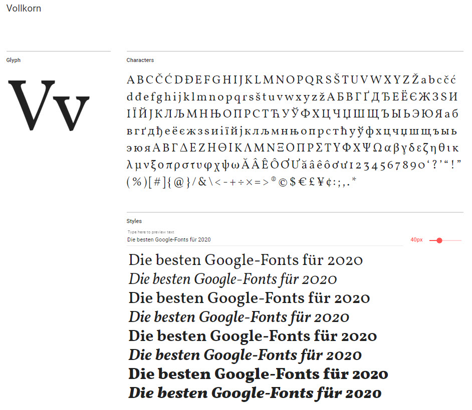 Google-Font: Vollkorn