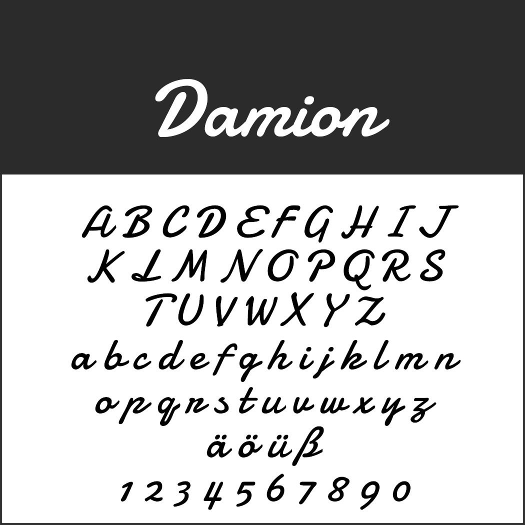 """Schriftart """"Damion"""""""