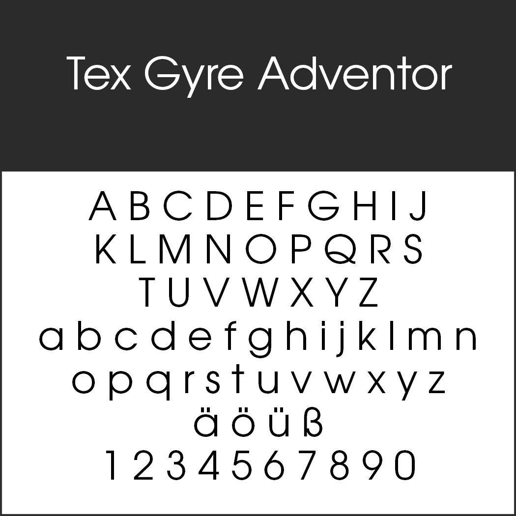 """Vintage Schrift """"Tex Gyre Adventor"""""""