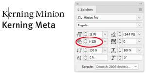 "Negativer Abstand bei ""Minion Pro"""